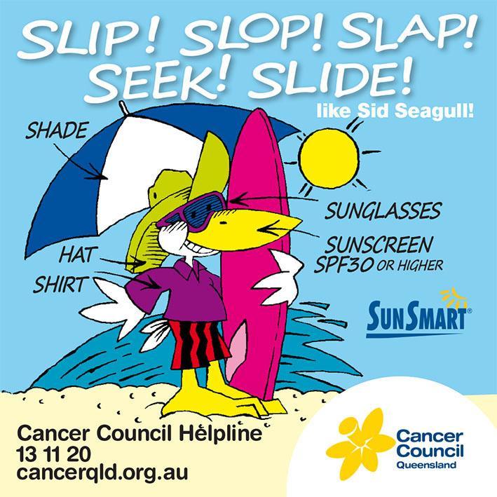Caloundra Surf School Slip Slop Slap Seek Slide like Sid Seagull